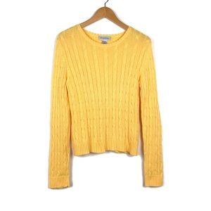 Brooks Brothers Cable Knit Sweater Large Yellow